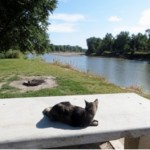 This is Serena relaxing and watching the Iowa River near Riverside, Iowa